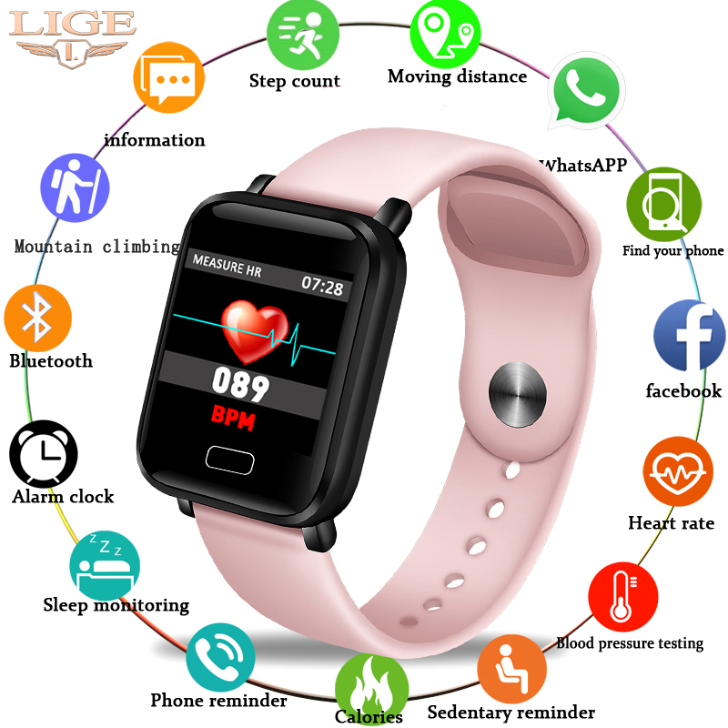 LIGE Bracelet intelligent femmes IP67 étanche Fitness Tracker Bracelet podomètre moniteur de fréquence cardiaque Sport montre intelligente Android ios