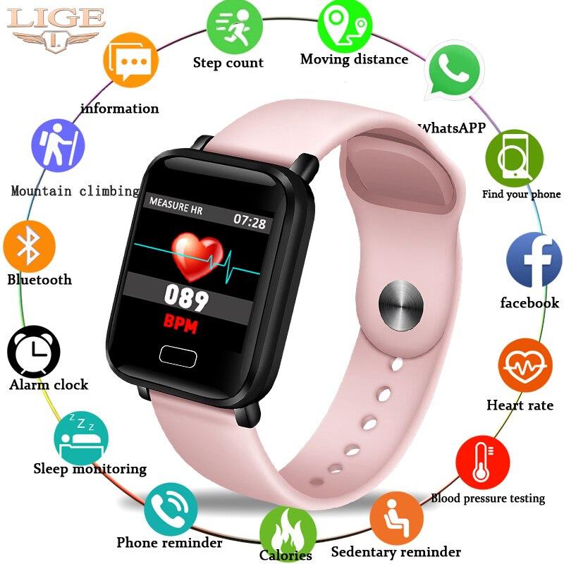 Pulseira Mulheres IP67 LIGE Inteligente À Prova D' Água Rastreador Pulseira Pedômetro Heart Rate Monitor de Fitness Esporte relógio Inteligente ios Android