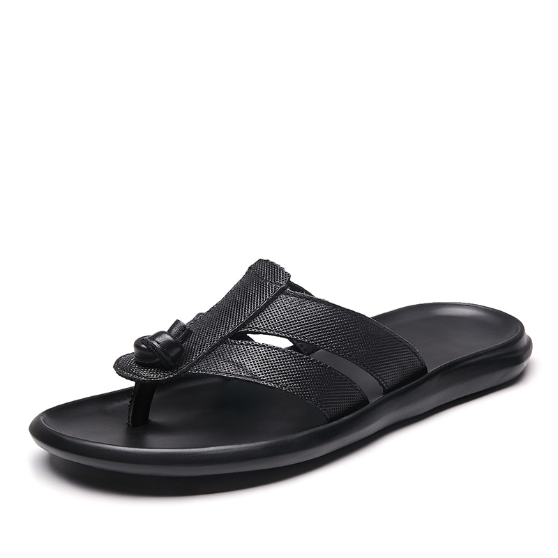 2019 Men's flip flops cow genuine leather slippers outside black fashion Leisure man shoes Luxury Beach Casual Sandals Flat With