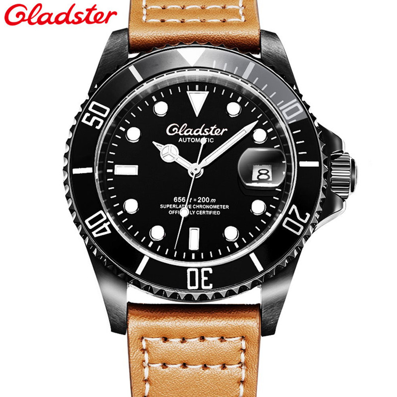 aliexpress com buy hot gladster fashion sport automatic aliexpress com buy hot gladster fashion sport automatic mechanical fishing brand style watch genuine leather luxury men automatic 200m diver watch from