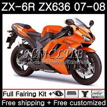 Средства ухода за кожей для KAWASAKI NINJA ZX 6R 6 R 600CC ZX636 2007 2008 54HC. 4 ZX600 ZX-636 глянцевый оранжевый ZX6R 07 08 ZX 636 ZX-6R 07 08 обтекатель