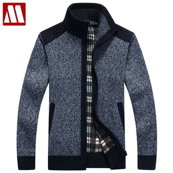 New Arrives Autumn Winter Men's Cardigans Sweaters Mandarin Collar Casual Clothes For Men Zipper Sweater Warm Knitwear Sweater
