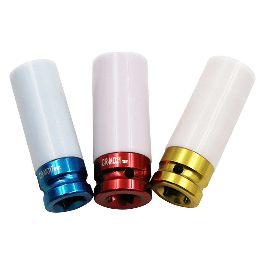 1Pcs 17 /19/ 21mm Colorful High-carbon Steel Sleeve Tire Protection Sleeve Wall Deep Impact Nut Socket