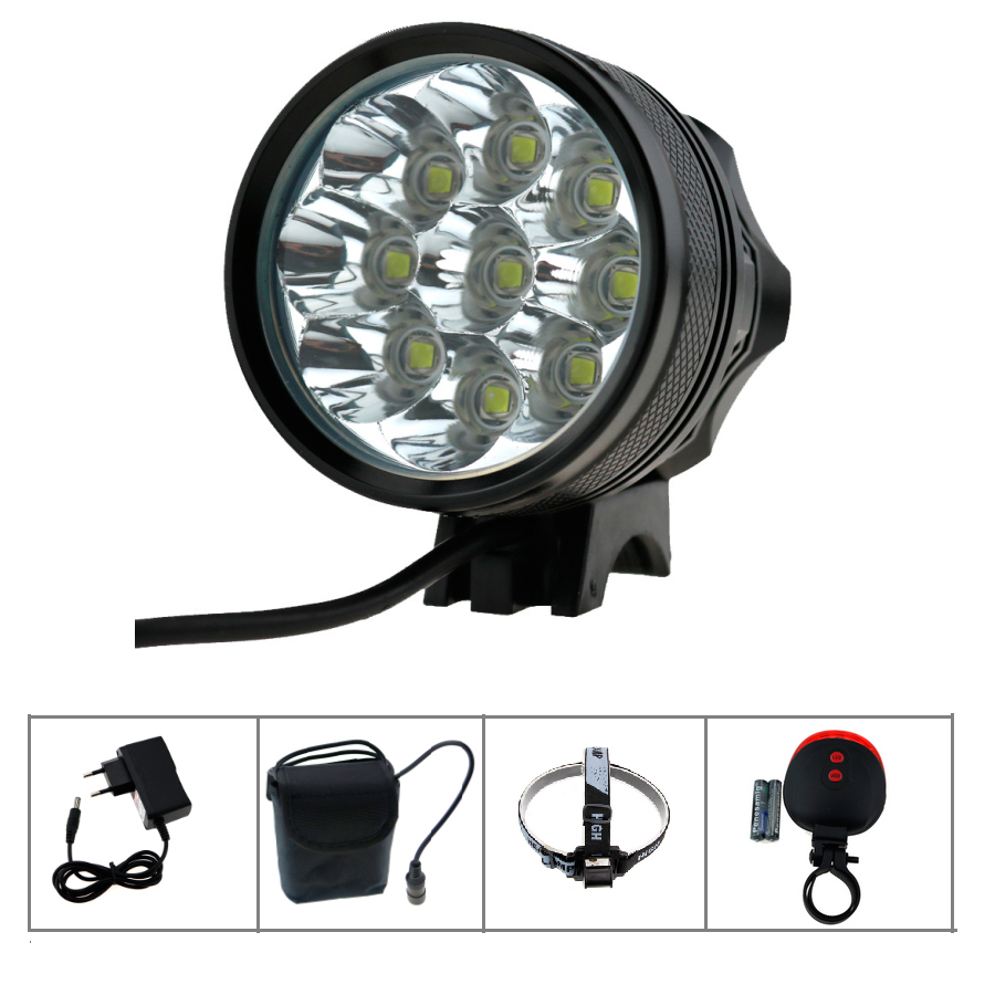 9L2 18000 Lumens Bicycle flashlight Bike Light Headlamp 9x Cree XM-L2 Cycling Lamp+8.4v 36000mah 26650 battery pack +CHarger 950lm 3 mode white bicycle headlamp w cree xm l t6 black silver 2 x 18650