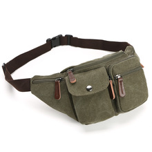 2019 Men Casual waist pack Fanny Pack Bum chest bags Waist Bags Belt Canvas New Hip Military Bag Pouch Two Zipper Pockets