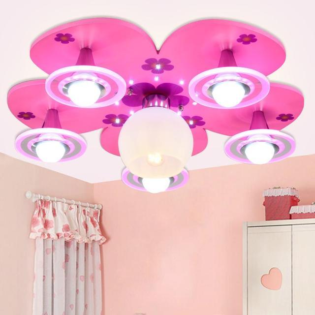 Pink Girl Bedroom Light Flower Petal Children Room Ceiling Lamp Baby LED  Eye Protectionl Luminaire