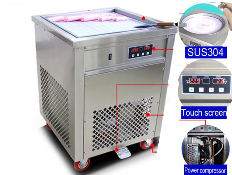 FREE AIR SHIP 110 V / 220 V single ROUND pan fried ice cream roll machine / ice pan machine with temperature control system chinese single round pan rolled ice cream machine fried ice cream roll machine with 6 barrels