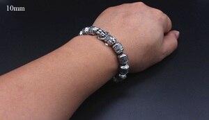 Image 5 - 100% Серебряный Тибетский браслет из бусин с шестью словами, счастливый женский браслет на удачу, браслет из бисера Pixiu
