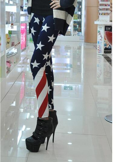 50pcs/lot fedex fast free shipping woman USA flag legging female casual star stripe elastic legging free size
