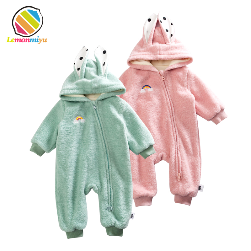 Newborn Baby Christmas Warm Clothes Boys Winter Rompers 0-3Meses Hodded Warm Thick Cashmere Infant Boy Jumpsuits Fleece Overalls cotton baby rompers set newborn clothes baby clothing boys girls cartoon jumpsuits long sleeve overalls coveralls autumn winter
