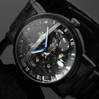 2016 Новинка черный Для Мужчин Скелет наручные часы из нержавеющей стали Античная стимпанк часы