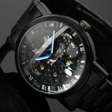 2016 Новый Черный мужская Скелет Наручные Часы Из Нержавеющей стали, Антикварные Стимпанк часы