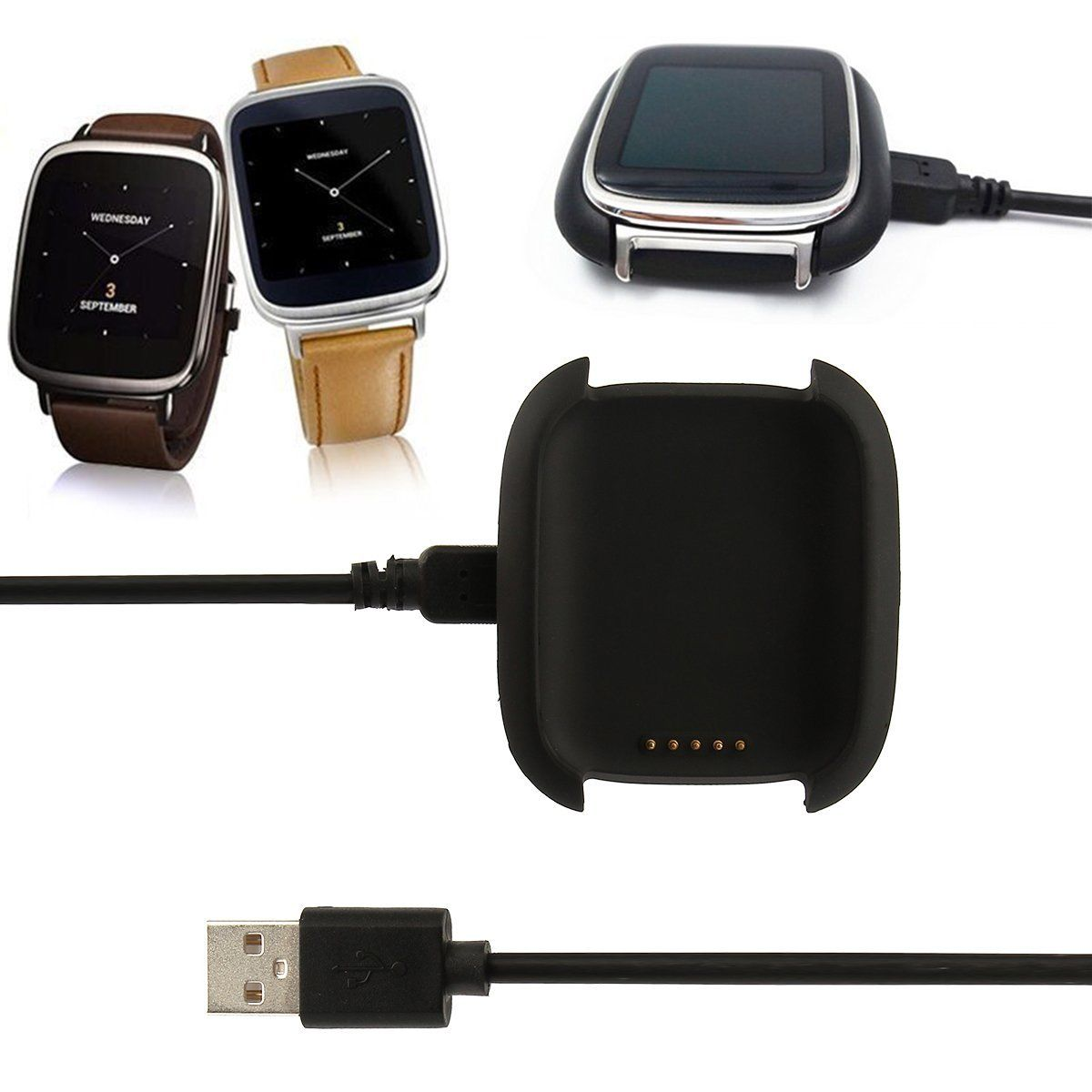 Charger Charging Dock Cradle Stand Station + Cable For Asus ZenWatch Smart Watch