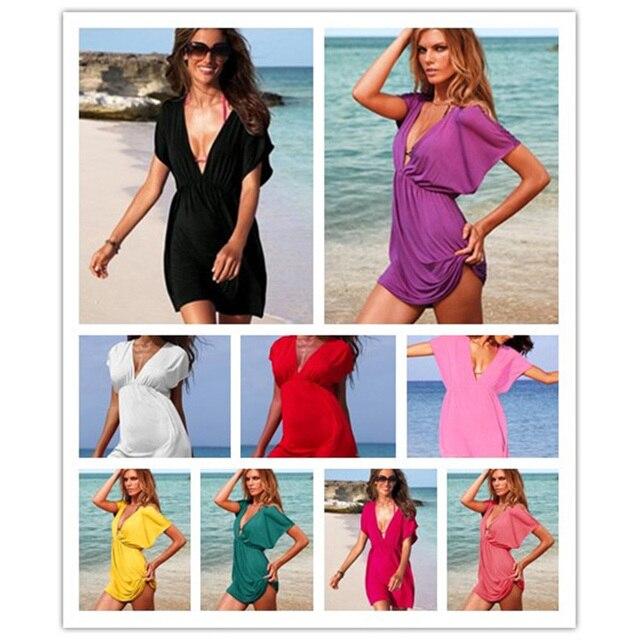 European Style Robe De Plage Summer Women Elastic Ice Swimwear Deep V-Neck Solid Short Sleeves Beach Cover Up 2