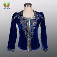 royal blue velvet men's ballet men costumes Prince's clothing performance recital competition man's top tunic jacket outwear