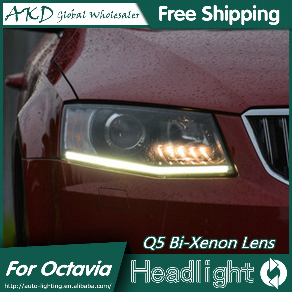 AKD Car Styling for Skoda Octavia Headlights 2014-2015 New Octavia LED Headlight LED DRL Bi Xenon Lens High Low Beam Parking skoda mqb octavia 4pcs high quality stainless steel car glass elevator button box for octavia a7 2014 2015