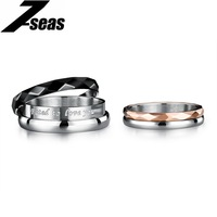7SEAS Cute Lovers Couple Rings Lettering Promise Romantic Jewelry Ring For Women Men Two Rings Combined