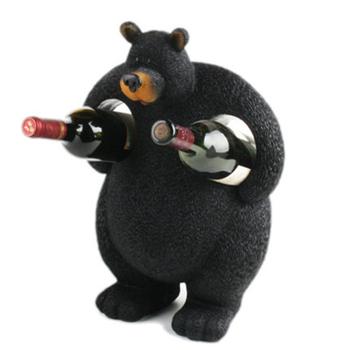 Decorative Wine Bottle Holder Amazing Resin Animal Creative Wine Bottle Holder Cute Black Bear Shaped Design Decoration