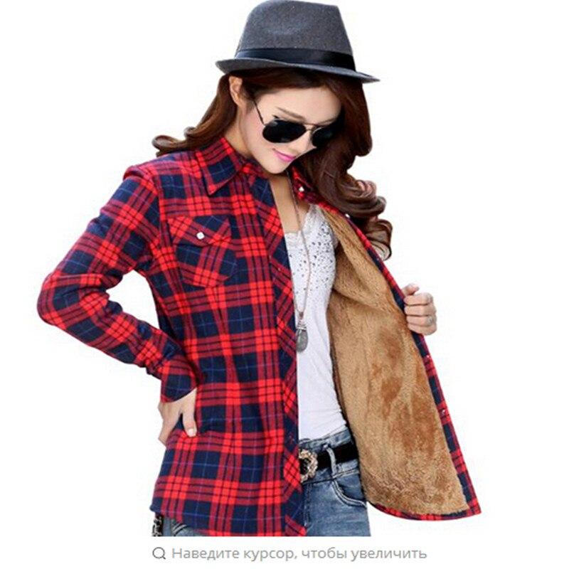 2017 New Velvet Loch Warm Women s Plaid Shirt Cotton Full Sleeve Blouse Shirt Blusa feminina