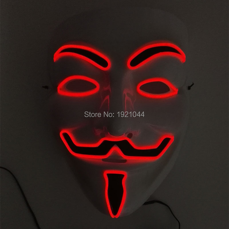 Bright Color Red Led Neon Mask EL Wire Glowing luminous mask Carnival mask Party Decoration