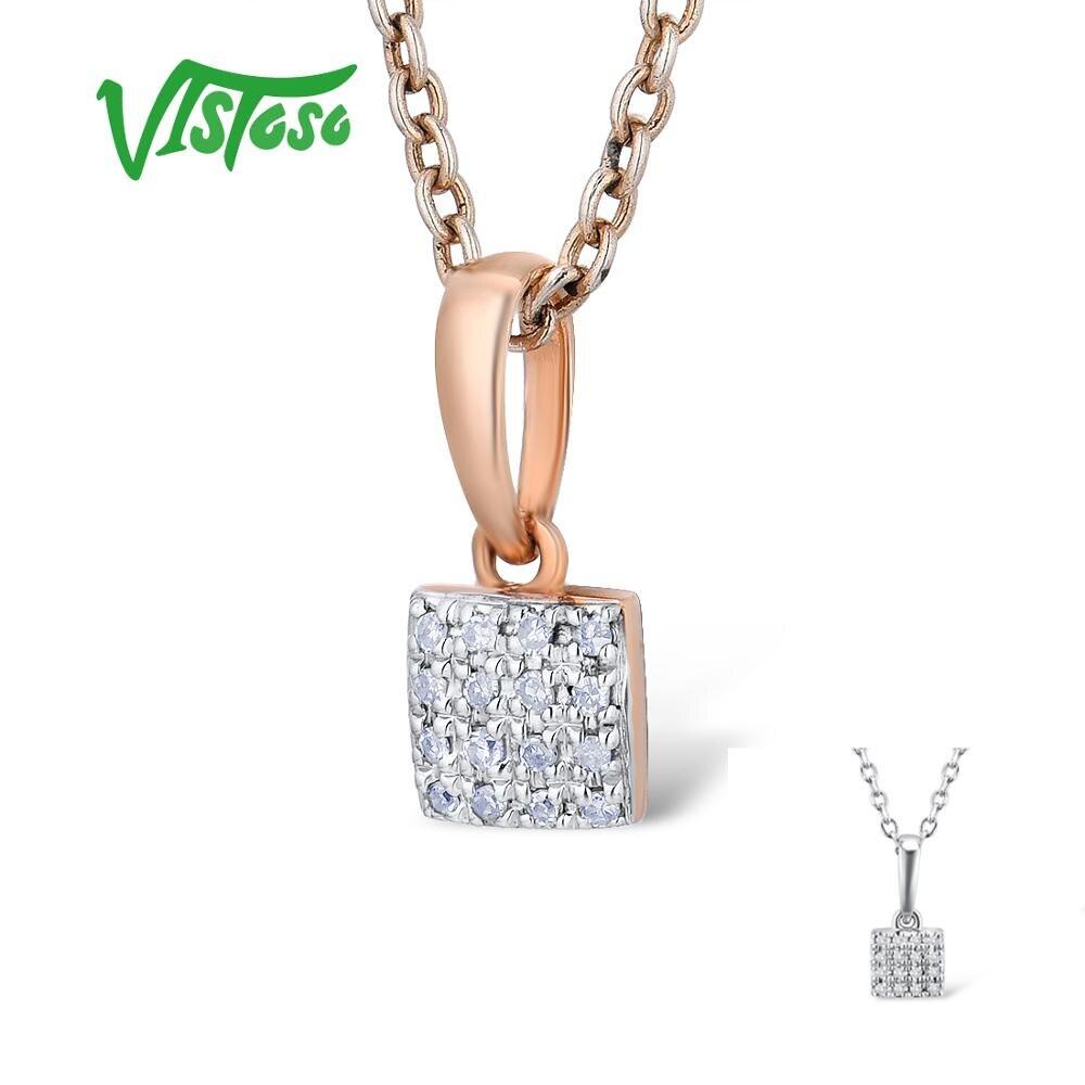 VISTOSO Pingentes de Ouro Para As Mulheres Autênticas 14 585 K Rose Ouro Branco Diamante Sparkling Simples Quadrado Pingente de Casamento Jóias Finas