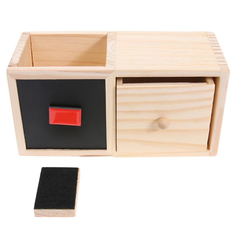 Wooden Blackboard Storage Box Pen Holder Pencil Container with Drawer Office School Supplies Stationery Decoration