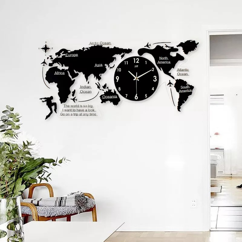 3d Big World Map Wall Clock Modern Design Decorative Wall