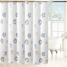 EHOMEBUY Modern Shower Curtain Sea Creature Waterproof Thick White with Hooks For Bathroom Bath Curtains 15 Sizes