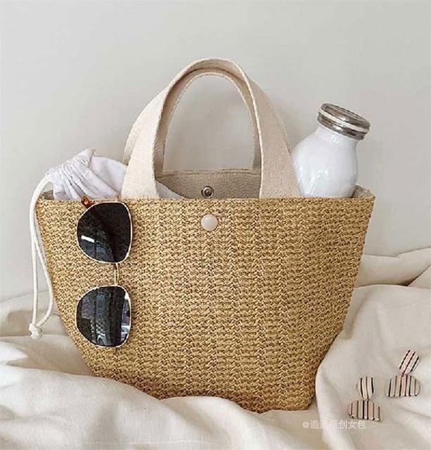 NEW Capacity Straw Bags Women Handmade Woven Basket Bolsa Tote Summer Bohemian Beach Bags Luxury Brand canvas Lady Handbags 6