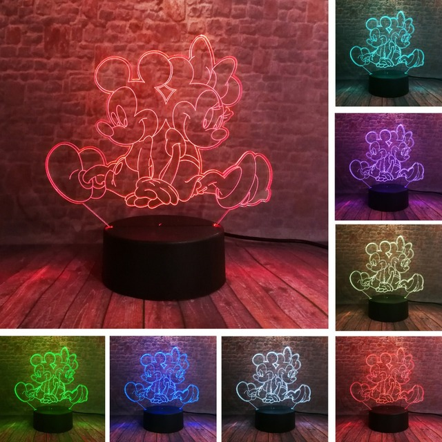 Sitting Playing Minnie Mickey Mouse 3D LED Night 7 Colors USB Hologram Light Baby Sleeping Decor Friend Toys Gifts Dropshipping