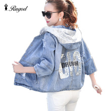 New Fashion Spring Autumn Women Denim Jacket Girls Casual Slim Ripped Hole Jeans Coat Female Plus Size Hooded Outerwear Tops цена