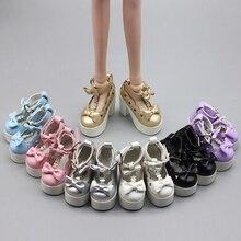 Handmade High Heele Leather Pu Shoes Black White Shoes Doll
