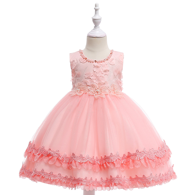 Retail Appliques Pearl Neck   Flower     Girls     Dress   Elegant   Girls   Beauty   Flower   Hemline   Girls   Party Pink   Dress   L5011