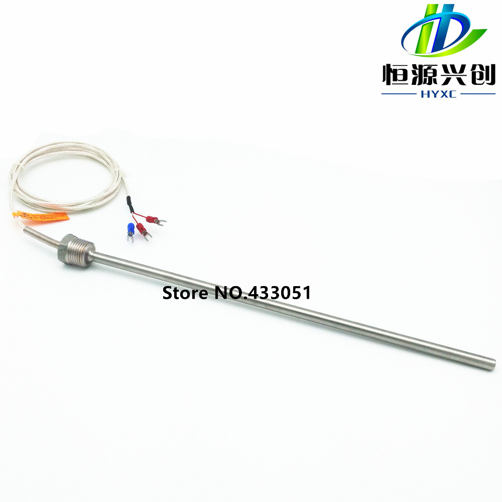 free shipping rtd pt100 ohm probe sensor l 500mm long type pt 1  2 u0026quot  npt 1  2 u0026 39  u0026 39  with lead wire free