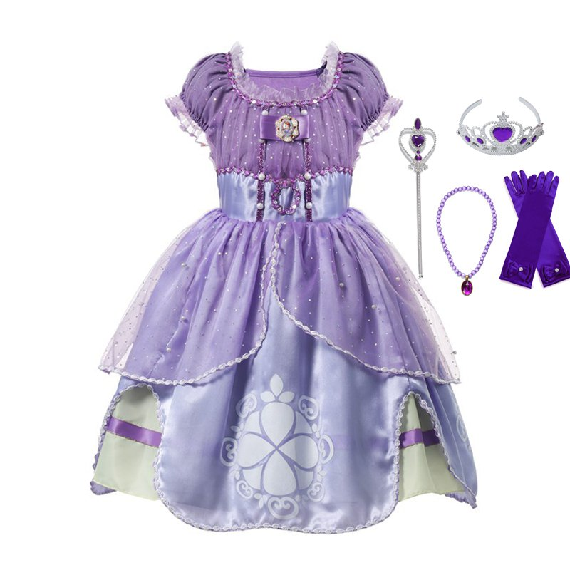 VOGUEON Summer Girl Sofia Princess Dresses Kids Puff Sleeve Sequin Sophia Cosplay Costume Children Halloween Prom Party Dress Up|Dresses| |  - title=