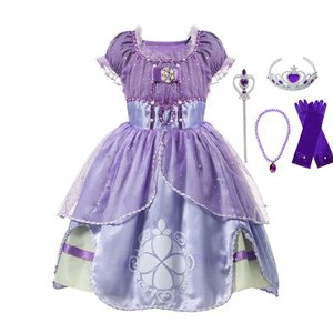 VOGUEON Summer Girl Sofia Princess Dresses Kids Puff Sleeve Sequin Sophia Cosplay Costume Children Halloween Prom Party Dress Up(China)