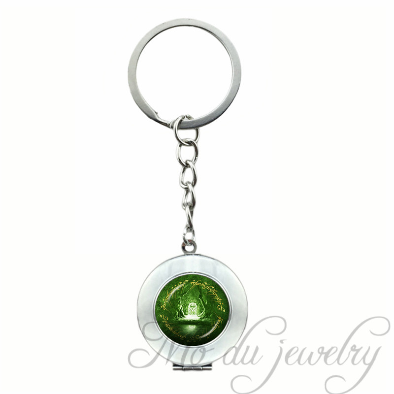 2018 The White Tree on Gondor Locket Pendant LOTR Key Chain Ring Green Glass Cabochon Keychain Rhodium Plated Key Chains Jewelry