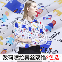 New cartoon spirit, digital inkjet, silk crepe de Chine, summer lovely silk dress shirt, crepe de Chine jacket.