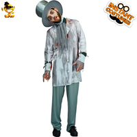 DSPLAY Men's Joker Groom Costume Role Play Deluxe Ghost Groom Suits for Halloween Party Include Hat Shirt Pants Scarf