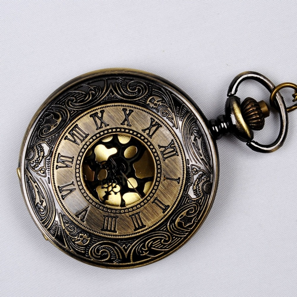 6003  Rome Hollow Gold Plated Pedant Watch Bronze Chain Retro Men Women Casual Pocket Watch Hot Sell Fashion Fob Watch Gift