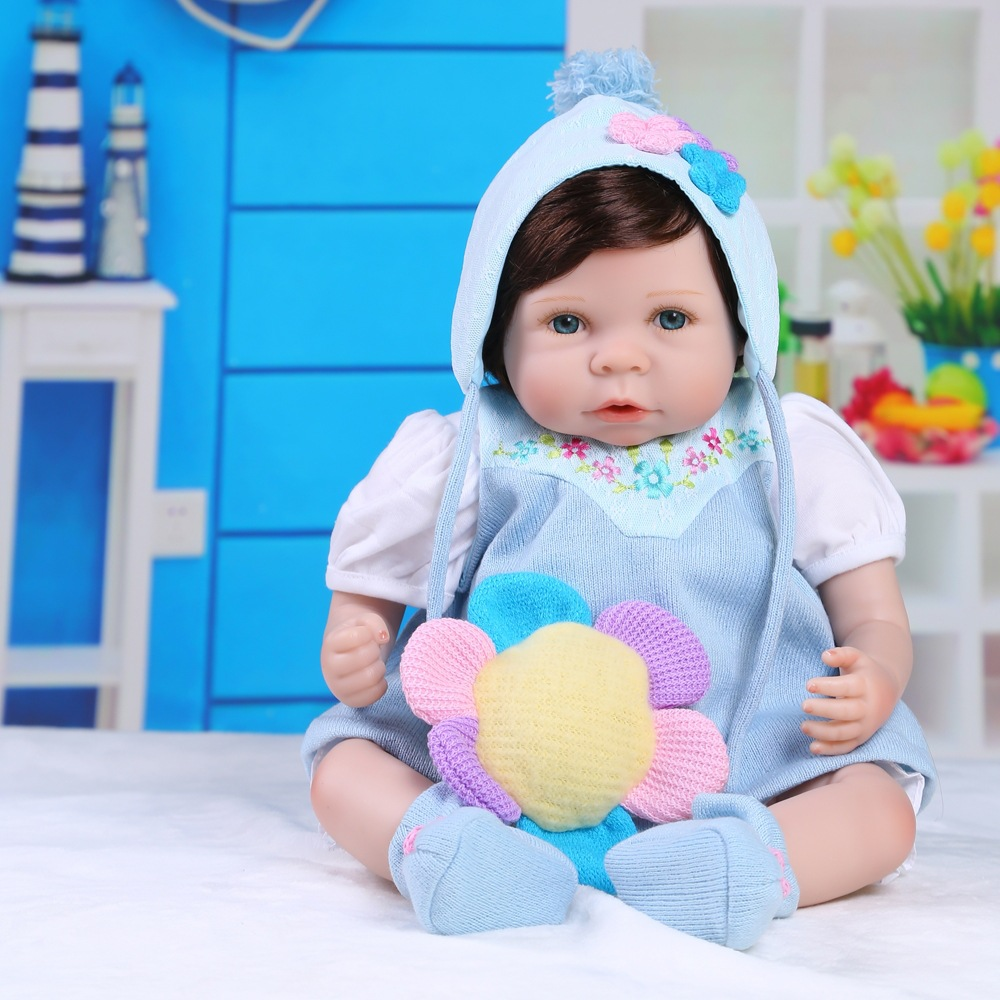 New 21 Inch Silicone Reborn Baby Dolls Handmade Realistic Lifelike Real Touch Vinyl Silicone Newborn Bebe Doll Girl Gift