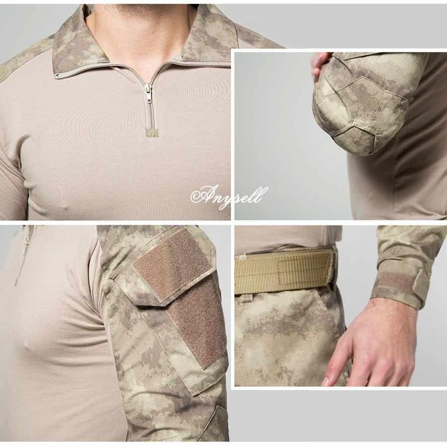 タクティカルギア軍迷彩軍服屋外シャツ迷彩軍事マルチカムエアガンペイントボールハイキング服 + 膝パッド