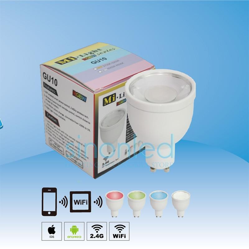 2.4G 4 Group GU10 5W RGBW(RGB+Warm/Cool White) LED Spotlight Bulbs Dimmable Wireless Lamp Smart phone control via Mi-light Wifi цены онлайн