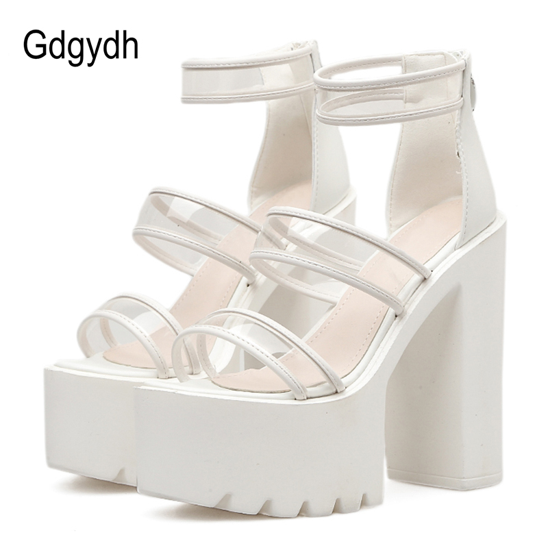 Gdgydh Transparent Clear PVC Sandals Woman Rome Style Black White Shoes For Wedding 2019 New Arrival