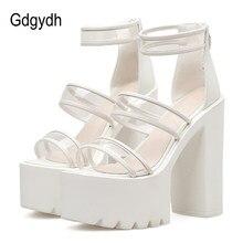 2a88241b Gdgydh de PVC transparente claro Sandalias Mujer estilo de Roma negro  blanco zapatos para boda 2019