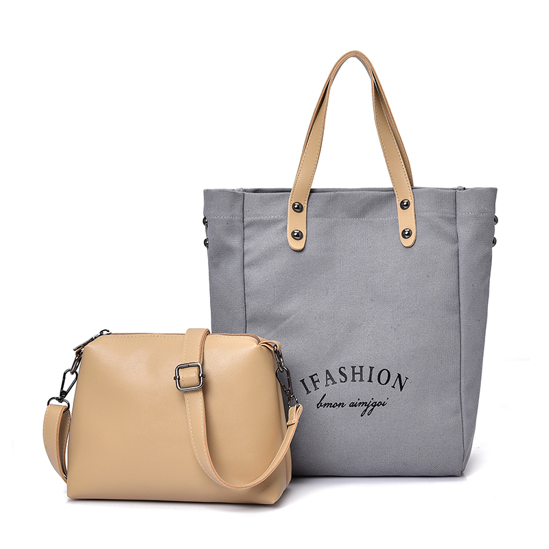 Casual 2Pcs/Set Canvas Leather Handbag Ladies Shoulder Bags Tote