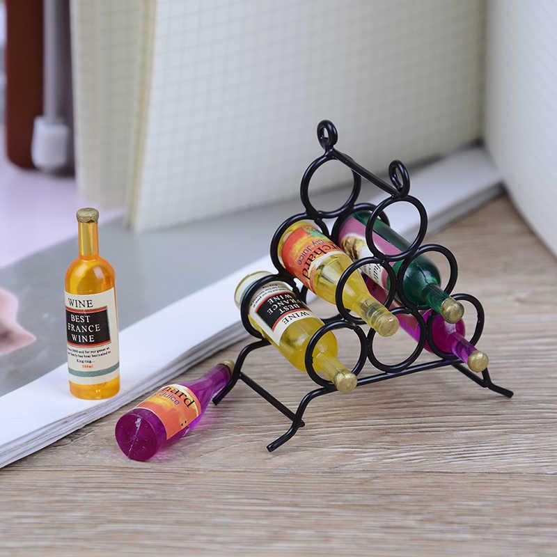 7 stks/set Mini Meubels Model Miniatuur Mini DIY keuken kamer Zwart + Wijn Fles Voor Miniaturen Poppen Huis 1:12 Pop huis
