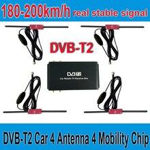 180-200 км/ч, DVB-T2, автомобильная 4 антенна, 4 чипа для подвижности, DVB T2, Автомобильный цифровой автомобильный тв-тюнер, HD 1080 P, ТВ-приемник, коробка DVBT2