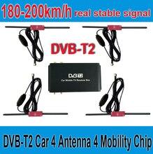 180-200 km/h DVB-T2 Samochód 4 Anteny 4 Mobilność Chip DVB T2 samochód Samochód TV Tuner Cyfrowy Odbiornik TV BOX HD 1080 P DVBT2