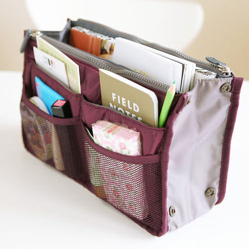 Free Shipping Women Man Casual Travel Insert Multi Functional Cosmetic Handbag Organiser Large Liner Storage Bag Wine Red In Bags From Home Garden